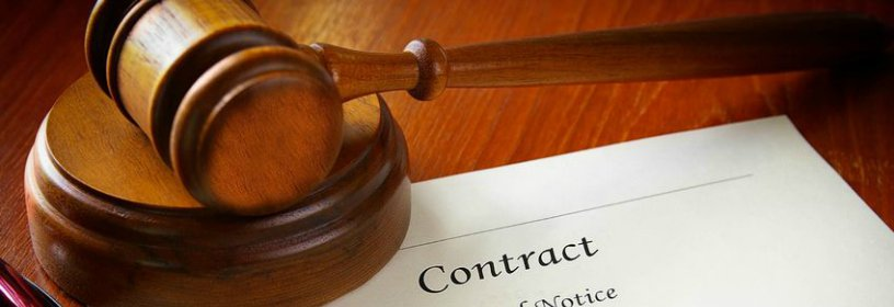 gavel on top of contract