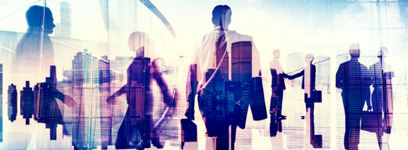 silouettes of business men and women