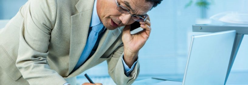 man on phone with risk management attorney