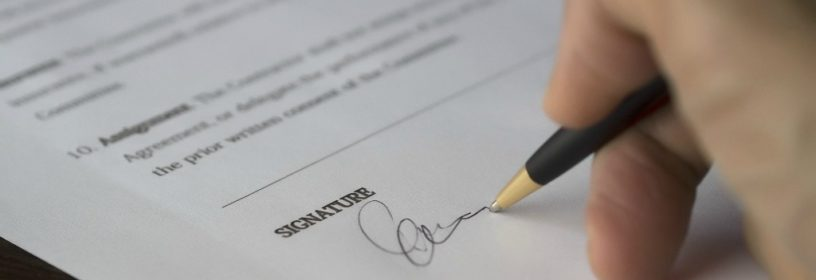signing agreement with pen