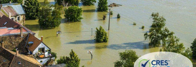 Neighborhood in flood zone under water