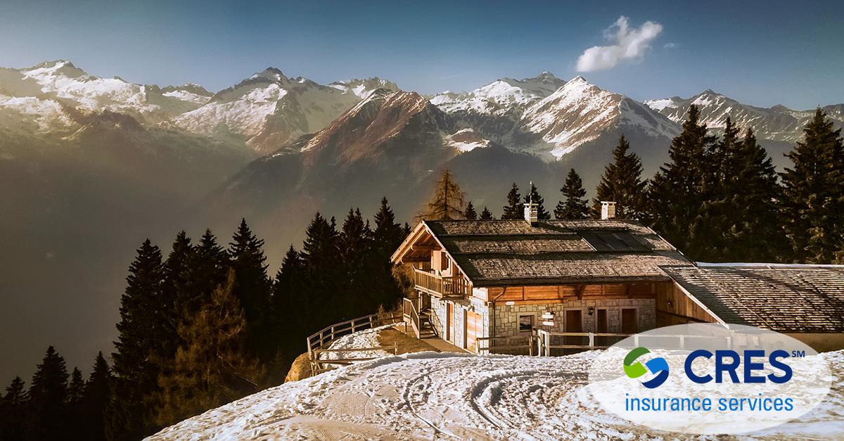 seasonal property house on snowy mountain