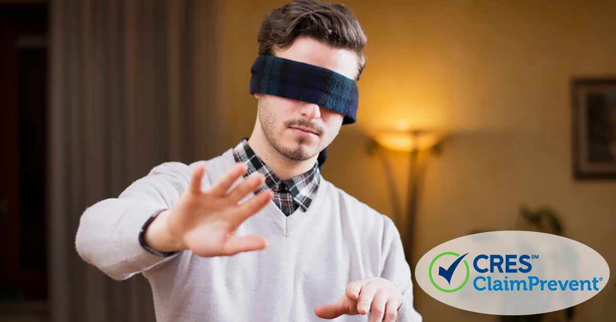 man with blindfold on