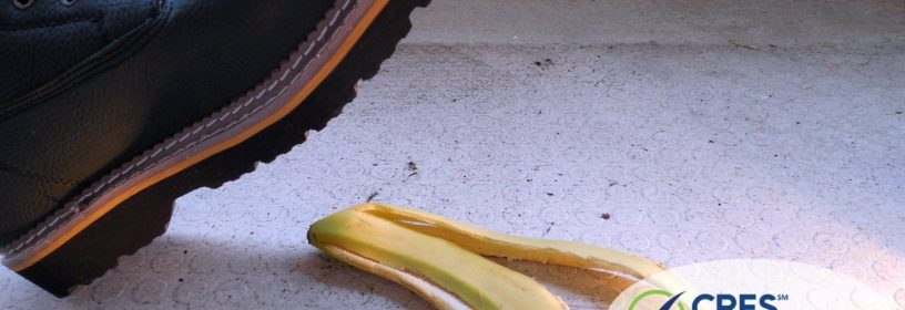 image of man's boot about ready to step on banana peel