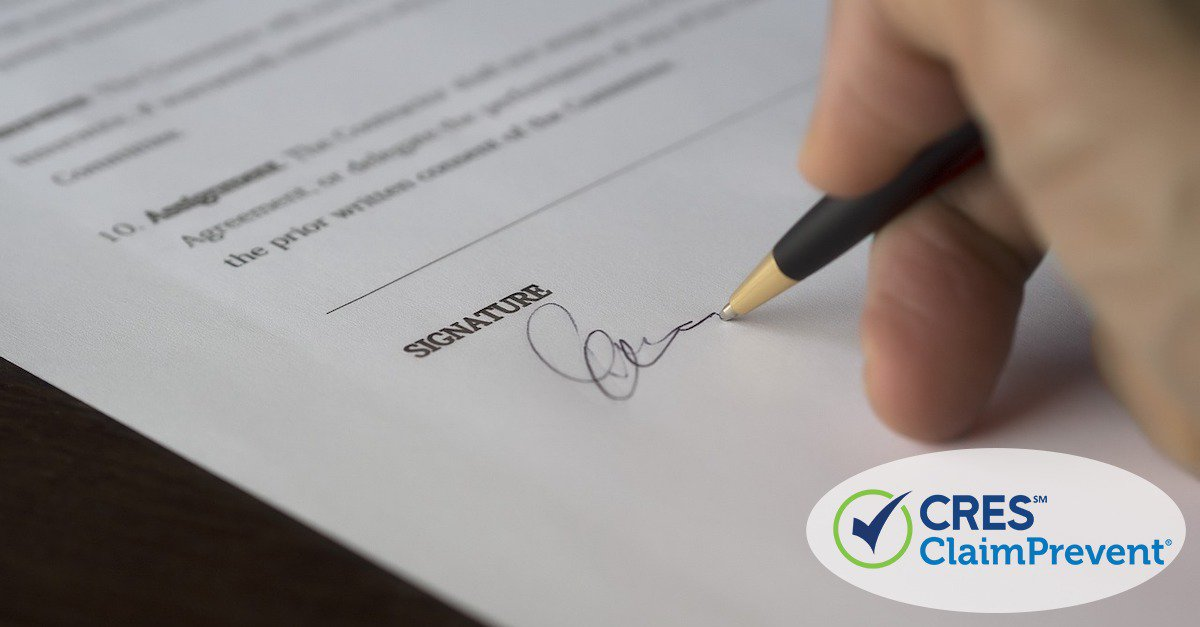 contract with person signing on signature line