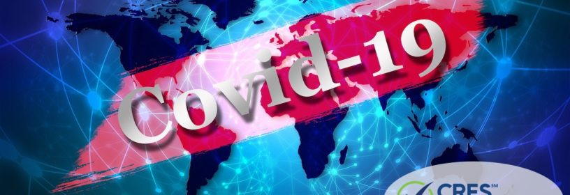 blue global image with COVID-19 banner