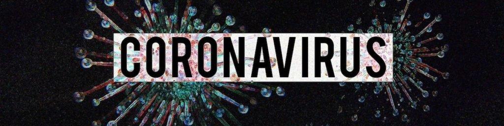 simulation of virus with coronavrius text overlay