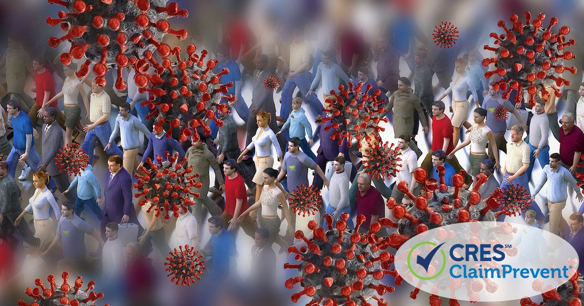 people walking around surrounded by illustrated caronavirus