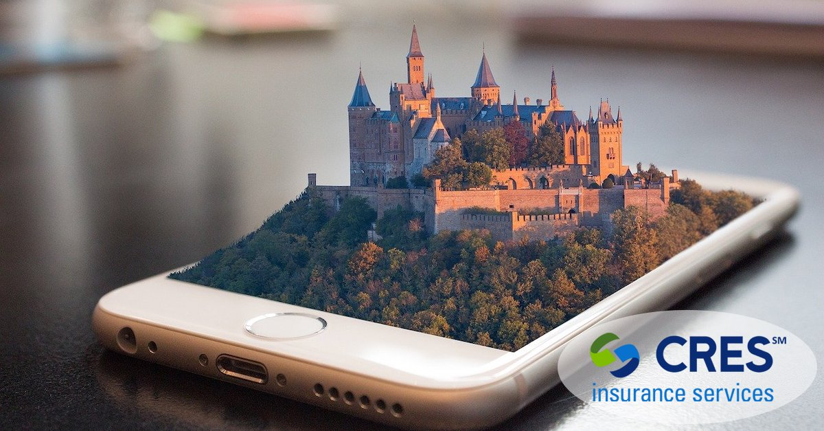 concept image - 3d castle coming out of the screen of a rose gold iphone