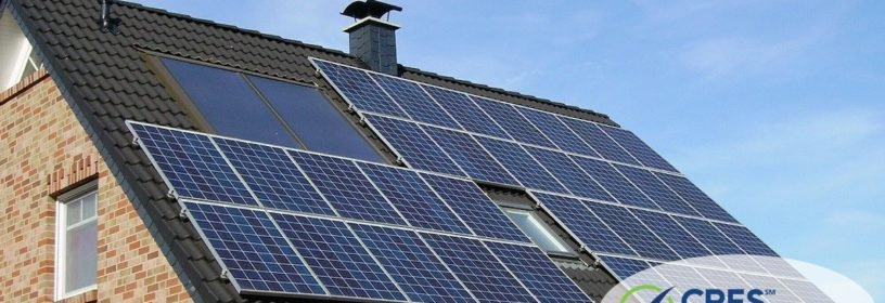roof of residential house with solar panels