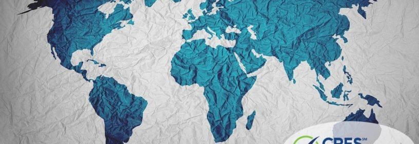white fabric with teal map of the world