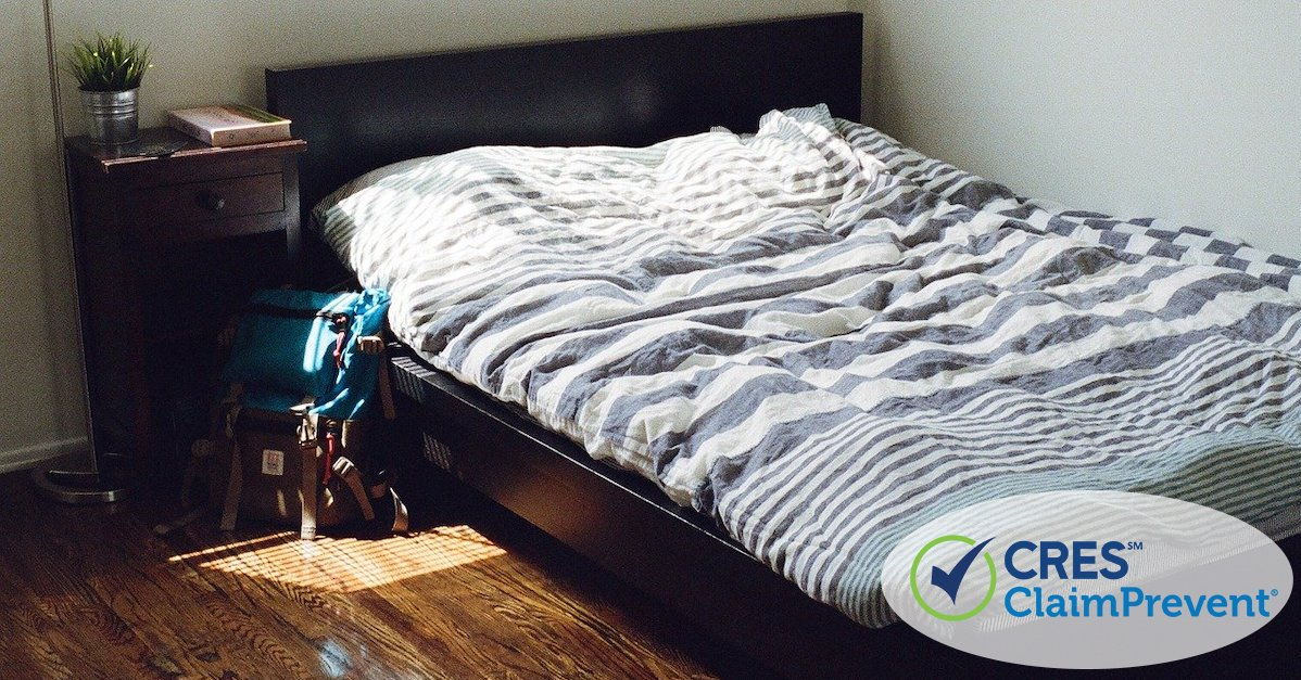 vacant bedroom with backpack