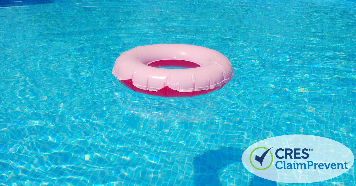 pool water with pink round float