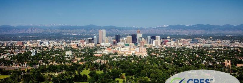 aerial view of Denver, Colorado city view