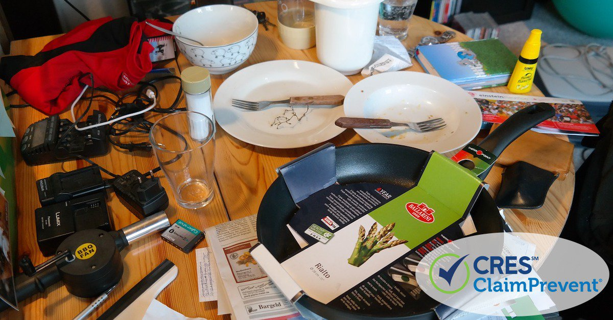 kitchen table full of clutter